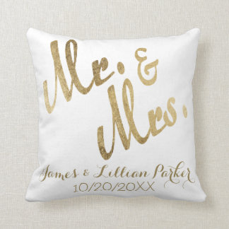 Faux Gold Mr. and Mrs. Monogram Wedding Cushion