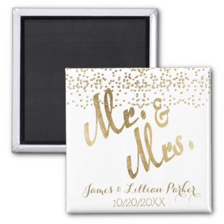 Faux Gold Mr. and Mrs. Monogram Wedding Square Magnet