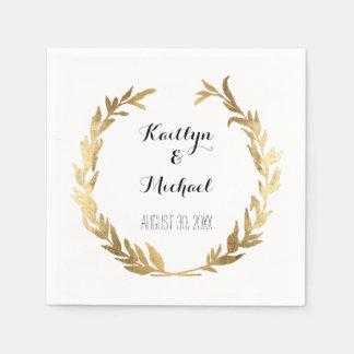 Faux Gold Olive Leaf Laurel Wreath Bride Reception Paper Napkin