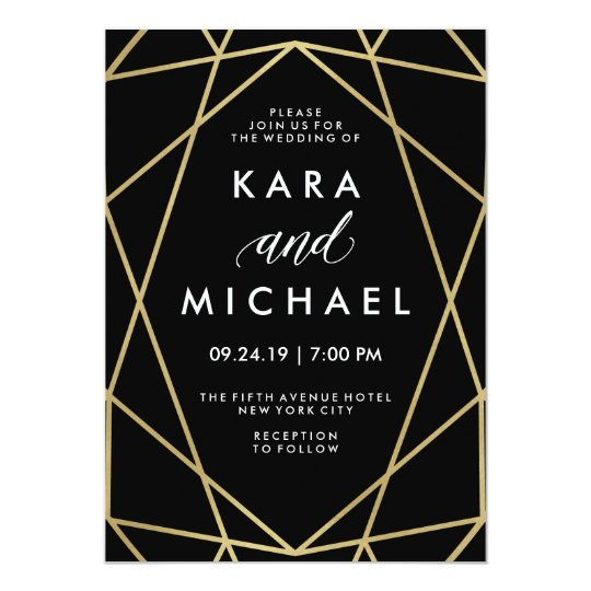 Faux Gold on Black Modern Geometric Wedding Card