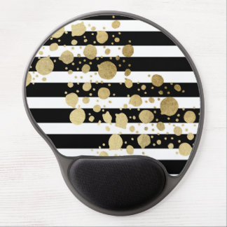 Faux Gold Paint Splatter on Black & White Stripes Gel Mouse Pad