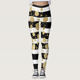 Faux Gold Paint Splatter on Black & White Stripes Leggings