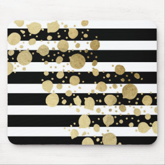 Faux Gold Paint Splatter on Black & White Stripes Mouse Pad