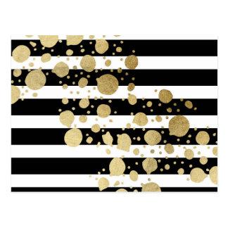 Faux Gold Paint Splatter on Black & White Stripes Postcard