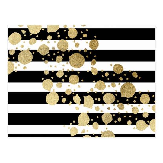 Faux Gold Paint Splatter on Black & White