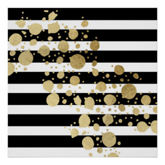Faux Gold Paint Splatter on Black & White Stripes Poster