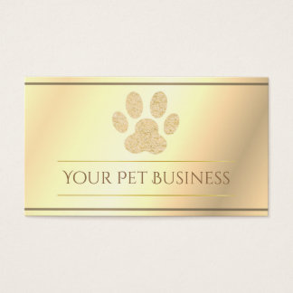 faux gold pet paw print business card