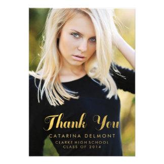 Faux Gold Photo Graduation Thank You Card