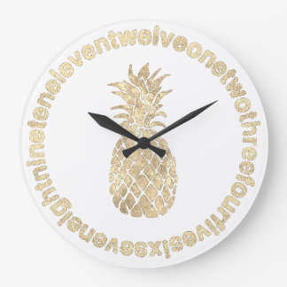 faux gold pineapple large clock