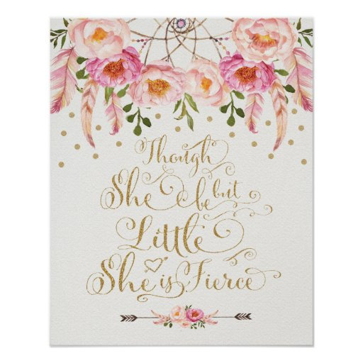 Faux Gold & Pink Nursery Art Boho Calligraphy