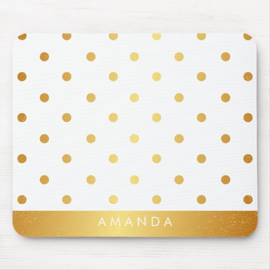 Faux GOLD POLKA DOTS PERSONALIZE ADD YOUR NAME Mouse Mat