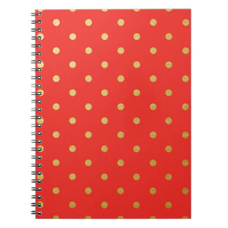 Faux Gold Polka Dots Red Metallic Notebook