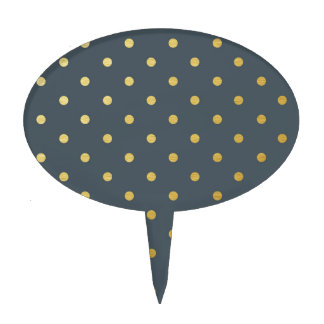 Faux Gold Polka Dots Slate Gray Metallic Cake Picks