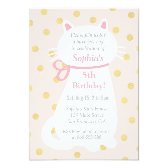 Faux Gold Polka Dots White Cat Birthday Party