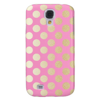 Faux Gold Polka Dots with Pink Galaxy S4 Case