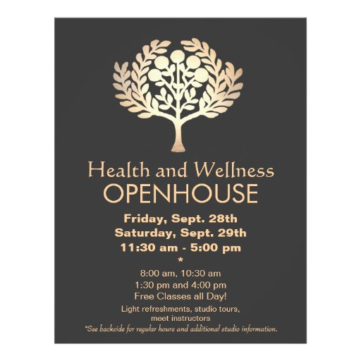 Faux Gold Prosperity Tree Health and Wellness Flyer Design