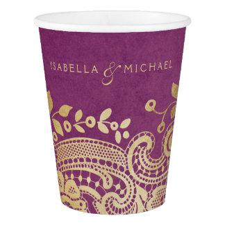 Faux gold purple elegant vintage lace wedding