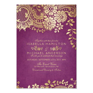 Faux Gold Purple Elegant Vintage Lace Wedding Card Awesome Ideas