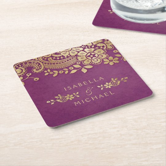 Faux gold purple elegant vintage lace wedding square