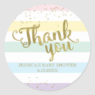 Faux Gold Rainbow Stripes Baby Shower Thank You Classic Round Sticker