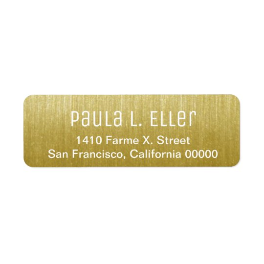 faux gold return address label