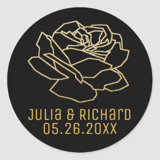 faux gold rose flower with names round sticker