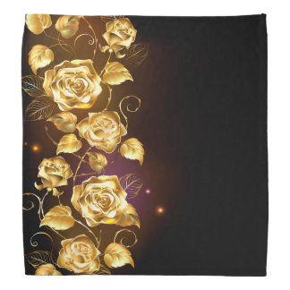 Faux gold roses on black and purple bandana