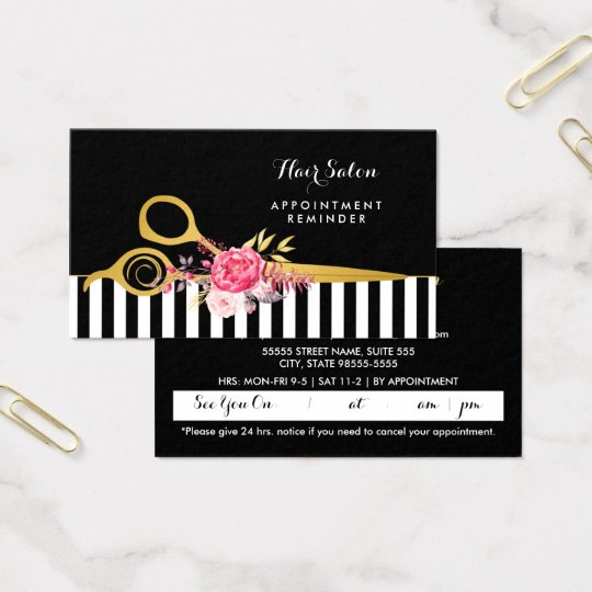 Faux Gold Scissors Pink Floral Salon Appointment Business