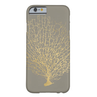 Faux Gold Sea Fan Sea Coral on Gray Barely There iPhone 6 Case
