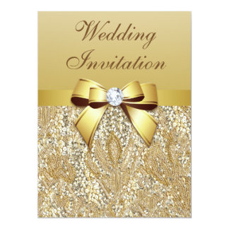 Faux Gold Sequins and Bow Wedding 17 Cm X 22 Cm Invitation Card