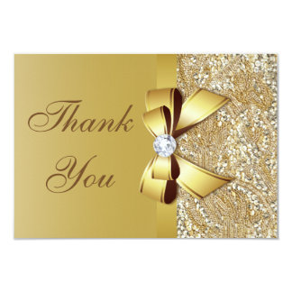 Faux Gold Sequins and Bow Wedding Thank You Card