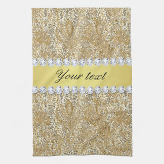 Faux Gold Sequins and Diamonds Tea Towel