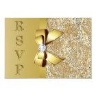 Faux Gold Sequins Bow Diamond RSVP Card