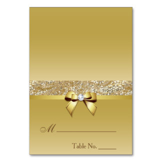 Faux Gold Sequins Diamond Bow Place Card Table Cards