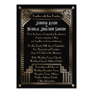 Faux Gold Shaded Gatsby Art Deco Wedding 13 Cm X 18 Cm Invitation Card