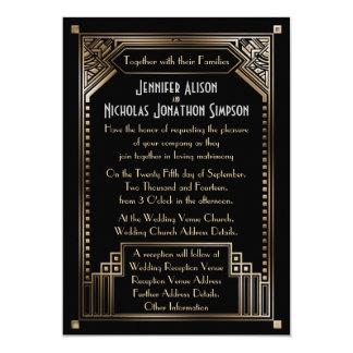 Faux Gold Shaded Gatsby Art Deco Wedding 13 Cm X 18 Cm Invitation Card