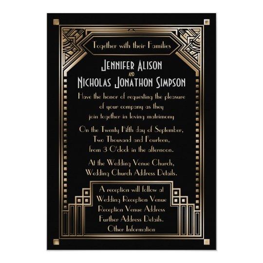 Faux Gold Shaded Gatsby Art Deco Wedding Card