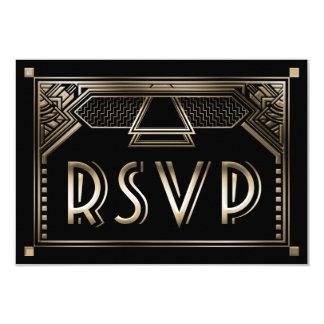 Faux Gold Shaded Gatsby Art Deco Wedding RSVP Card