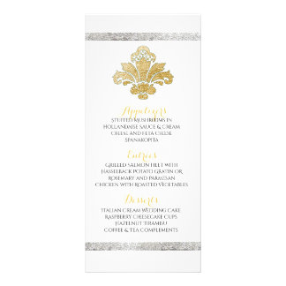 Faux Gold/Silver Damask Dinner Party Menu Teal Full Color Rack Card
