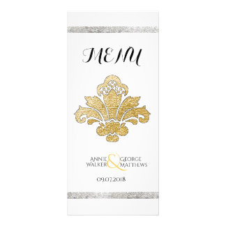 Faux Gold/Silver Damask Wedding Dinner Menu Black Rack Cards