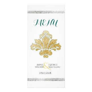 Faux Gold/Silver Damask Wedding Dinner Menu Teal Personalised Rack Card