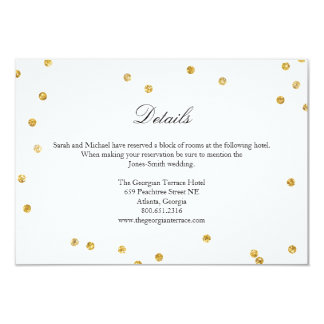Faux Gold Sparkle Confetti Wedding Details Card