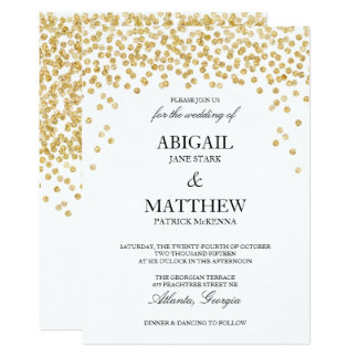 Faux Gold Sparkle Confetti Wedding Invitation
