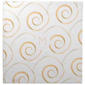 (Faux Gold) Spiral Monogram   Cloth Napkin