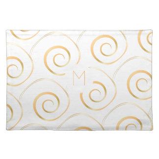 (Faux Gold) Spiral Monogram | Cloth Placemat