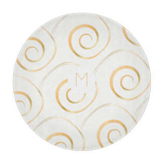 (Faux Gold) Spiral Monogram | Cutting Board