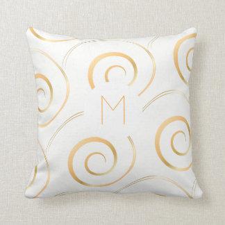 (Faux Gold) Spiral Monogram | Throw Pillow