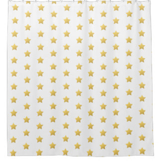 Faux gold stars shower curtain