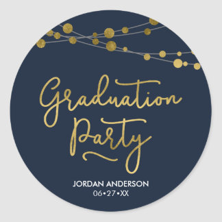 Faux Gold Strings of Lights Blue Graduation Party Classic Round Sticker