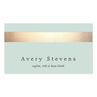 Faux Gold Striped Elegant Light Blue Chic Double-Sided Standard Business Cards (Pack Of 100)